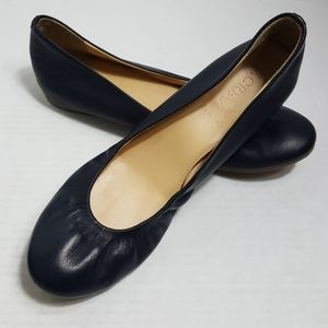 J. Crew navy leather ballet flats made in Italy